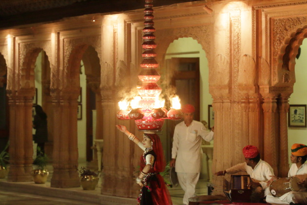 Traditional fire dance at Laxmi Niwas Palace, Bikaner