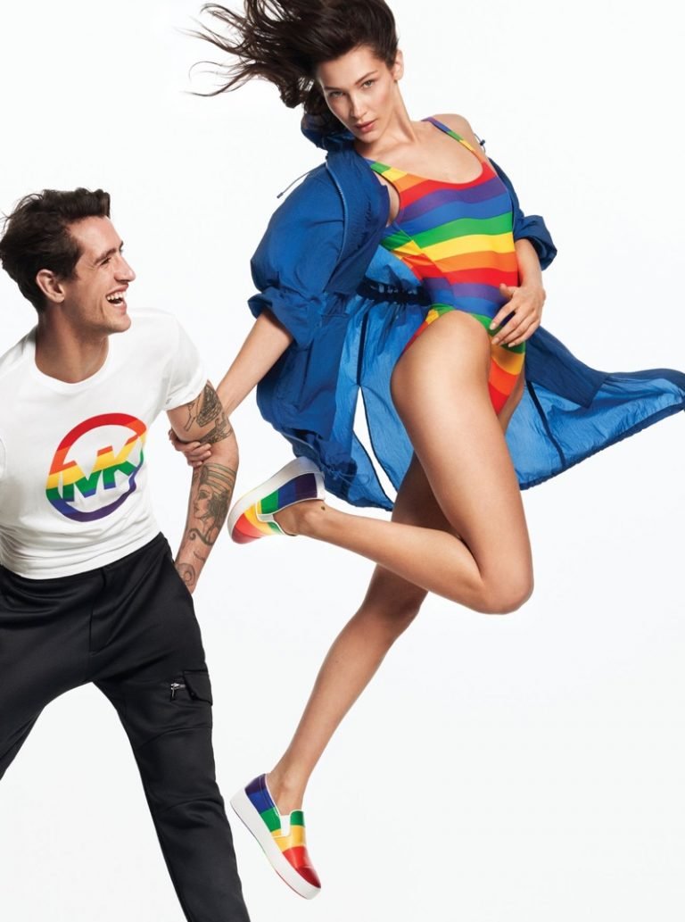 Bella Hadid poses in Michael Kors #MKGO Rainbow collection campaign