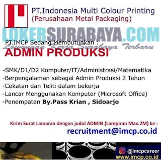 Lowongan Kerja di PT. Indonesia Multi Colour Printing Surabaya Terbaru Mei 2019