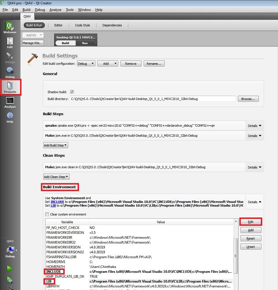 Running QtAV project using QT5, FFMpeg and VS2010 on Windows 7/8