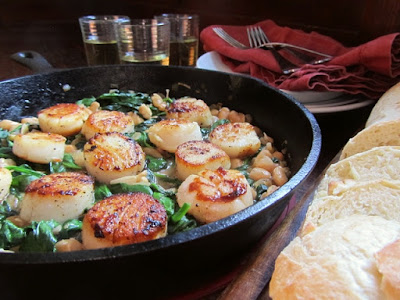 Seared Scallops with White Beans and Spinach On My Plate Blog