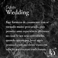 Esse formato de casamento se tornado muito procurado, pois permite uma experiência diferente ao casal (e aos seus convidados, quando optam por levar mais pessoas), com excelente custo em relação aos eventos tradicionais.