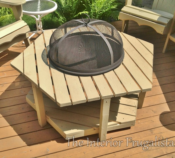 DIY Adirondack Fire Bowl Table stained Sage Green