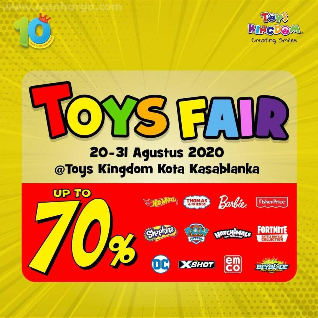 Promo Toys Kingdom Up To 70% di Toys Fair Kota Kasablanka Periode 20 - 31 Agustus 2020