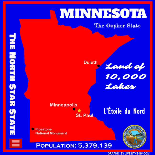 A map of the northstar state of Minnesota by jiveinthe415.com.