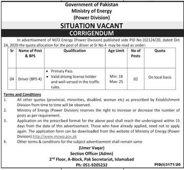 Ministry of Energy Govt Job 2020
