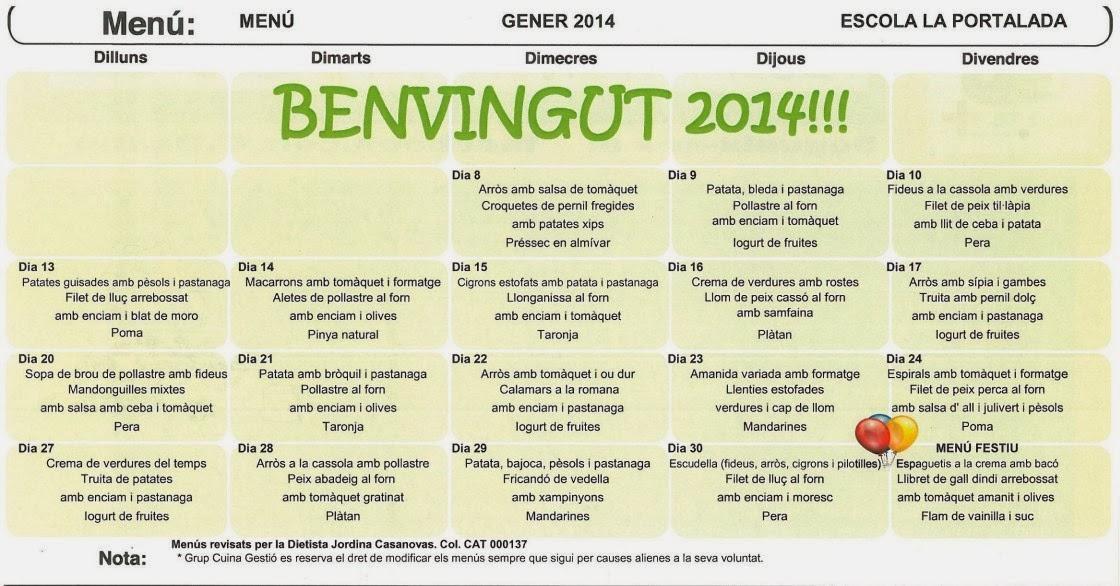 Menú Escola Gener 2014