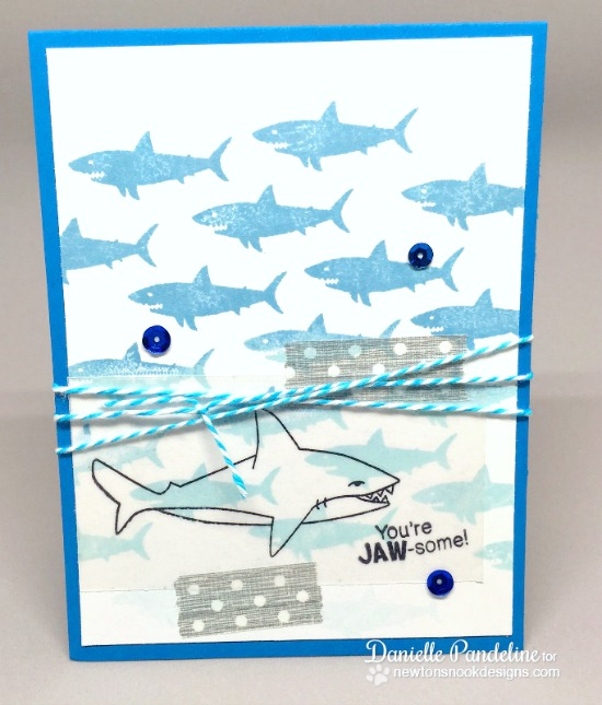 Ombré shark card by Danielle Pandeline | Shark Bites stamp sets by Newton's Nook Designs #newtonsnook