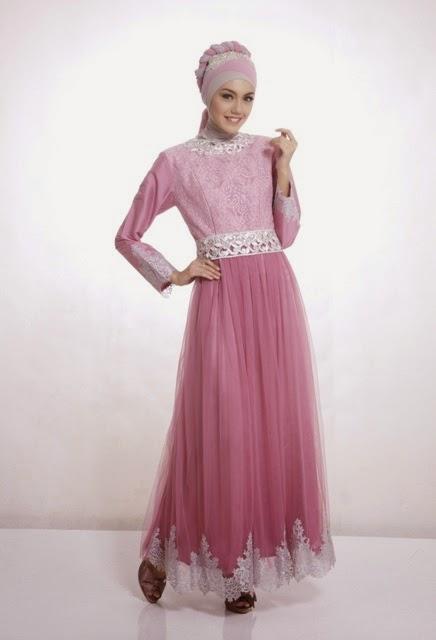 Model Baju Pesta Muslim Brokat Sifon Terbaru