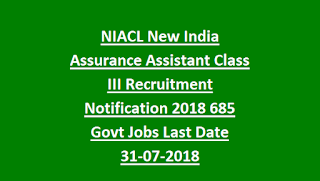 NIACL New India Assurance Assistant Class III Recruitment Notification 2018 685 Govt Jobs Online-Exam Pattern