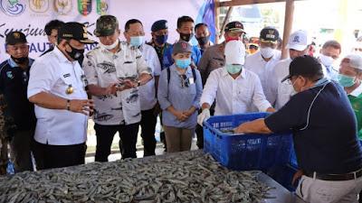 Gubernur Lampung Bersama Menteri Kelautan dan Perikanan Edhy Prabowo Panen Udang dan Menanam Mangrove di Labuhan Maringgai