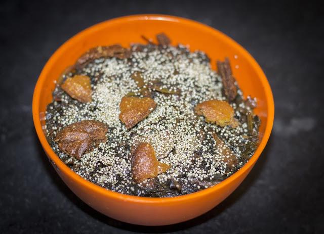 Lal Sakh ( Red amaranthus), Bori (Dried lentil Dumplings) Posto ( Poppy Seeds)