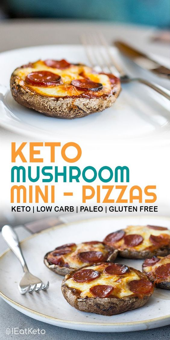 Portobello Mushroom Mini Keto Pizzas #KETOPIZZA #LOWCARBPIZZA #EASY #QUICK