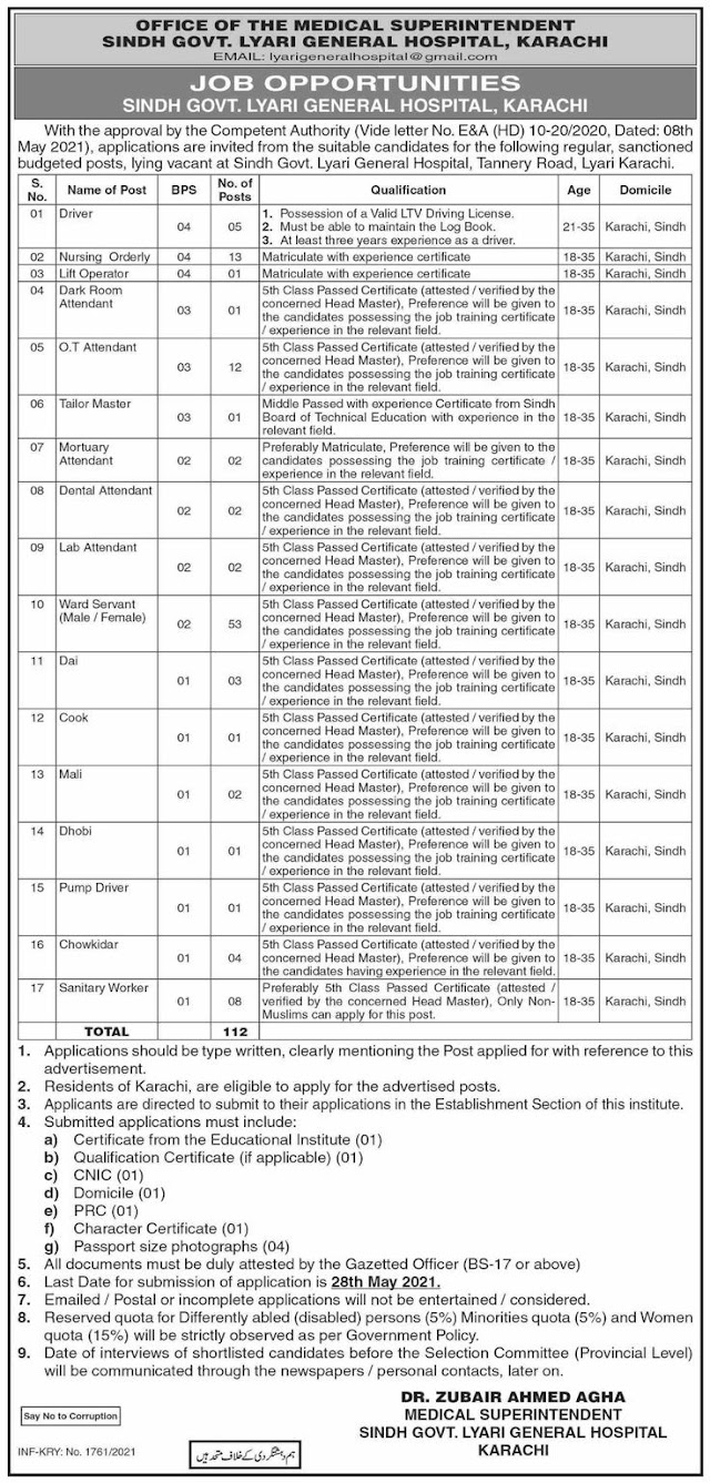 New Latest 112 Posts Office Of The Medical Superintendent Sindh Govt Lyari General Hospital Karachi Jobs 2021 For Nursing Orderly And More