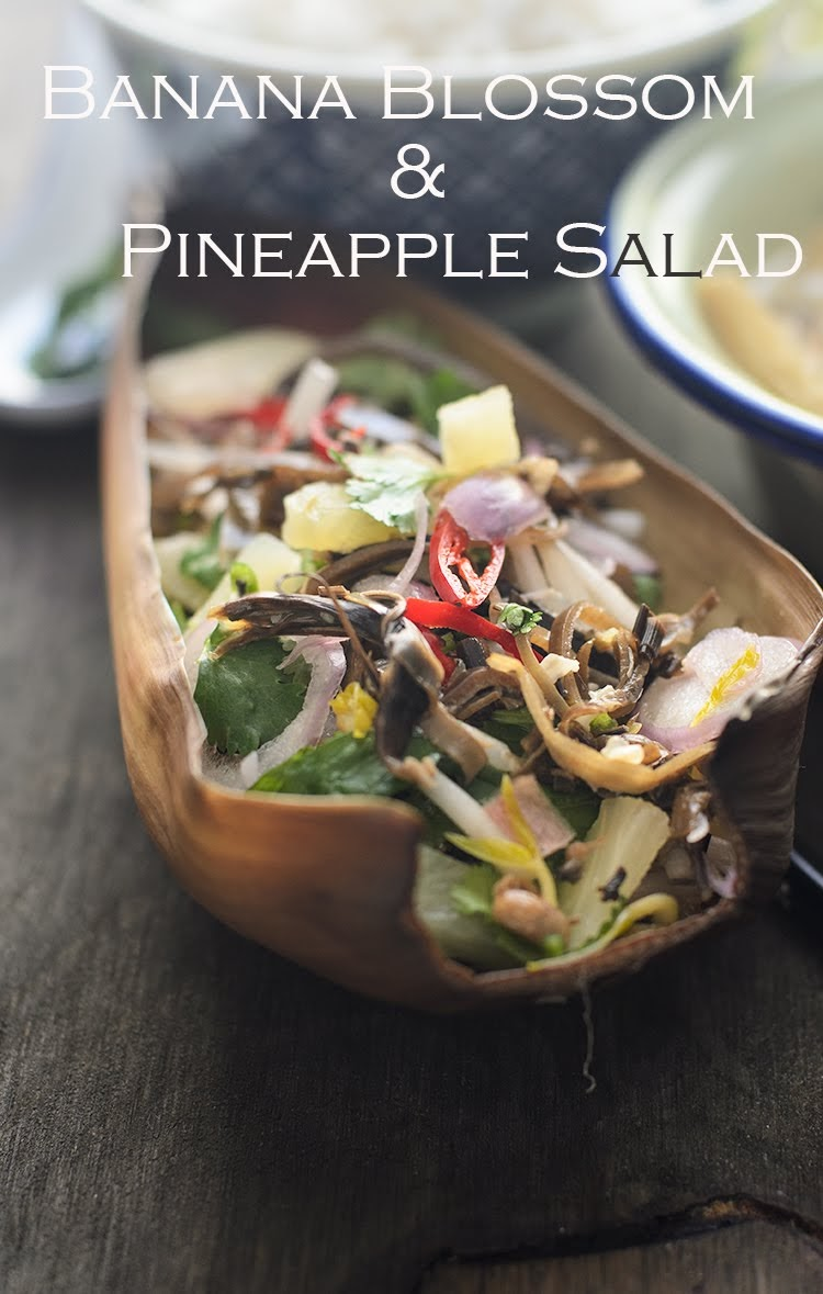 Delicious tropical Banana blossom and Pineapple salad photo.