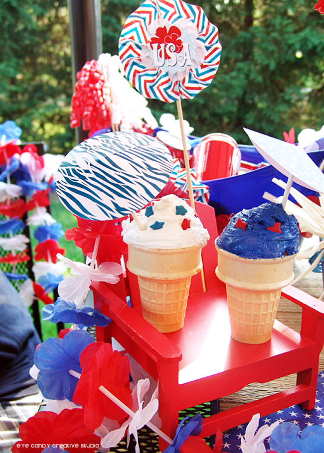 cupcake cones, 4th of july, patriotic luau, bbq, beach chair, leis