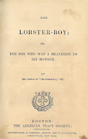 Title page of Zechariah Mudge's book The Lobster-Boy