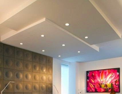 Led false ceiling lights for living room led strip lighting ideas in the interior for Downlight design living room
