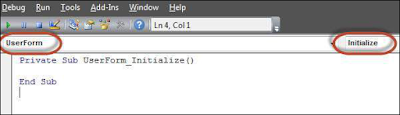Select 'Userform' from the objects drop-down and select Initialize method as shown in the following screenshot Shout4Education