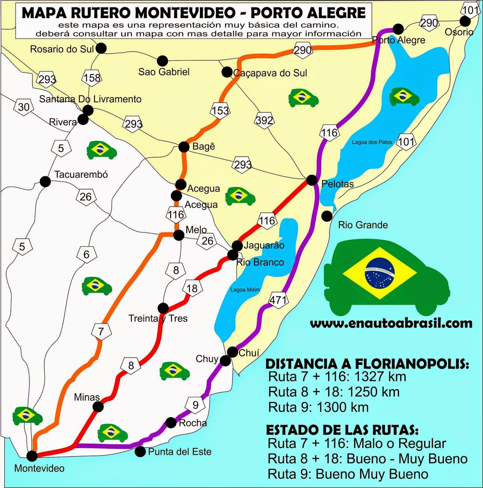 Mapa Montevideo a Florianopolis