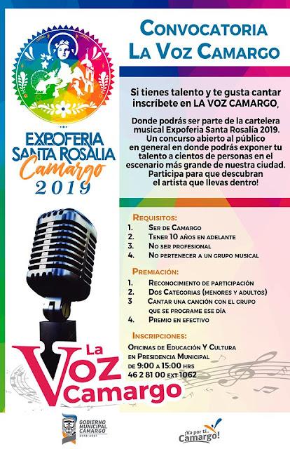 concurso de voz santa rosalía de camargo 2019