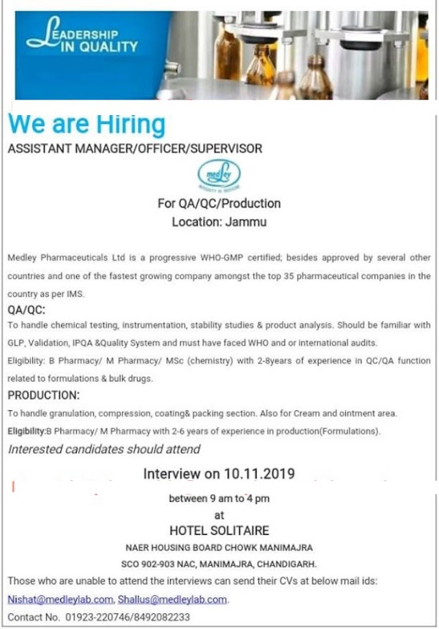 Medley Pharmaceuticals Ltd - Walk-In Interviews for QA | QC | Production on 10th Nov' 2019