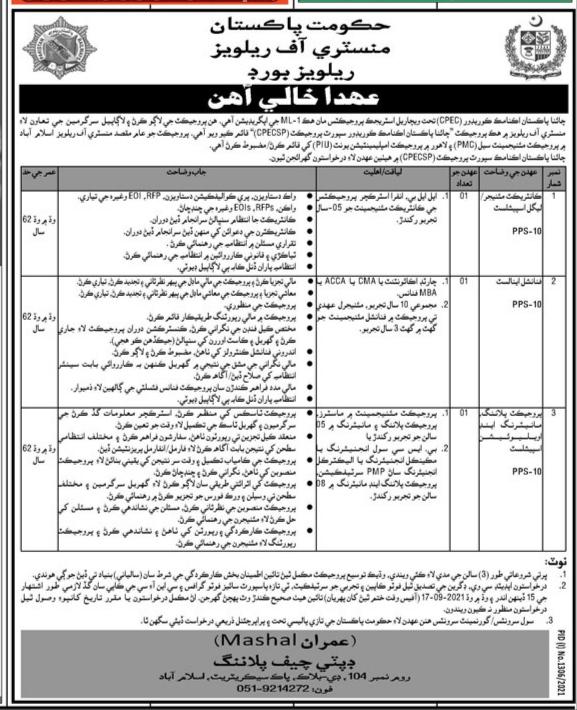 Ministry Of Railways Board Jobs 2021