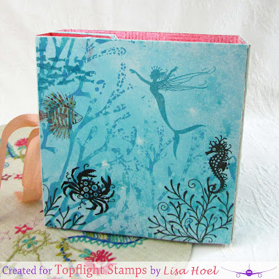 Lisa Hoel for Topflight Stamps Summer Blog Hop - ocean themed stationery Folio with matching cards! #pinkinkdesigns #topflightstamps #mermaid #creativejuicefreshsqueezed
