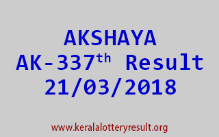AKSHAYA Lottery AK 337 Results 21-03-2018