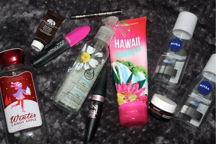 emtpies, empty products, maybelline, bath and body works, origins, kat von d, nivea