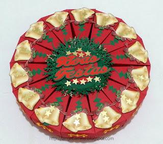 Caixa fatia de bolo Natalina