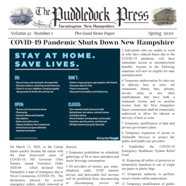 Puddledock Press Publishes a Spring 2020 Issue