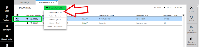 synchronize sales order to quickbooks