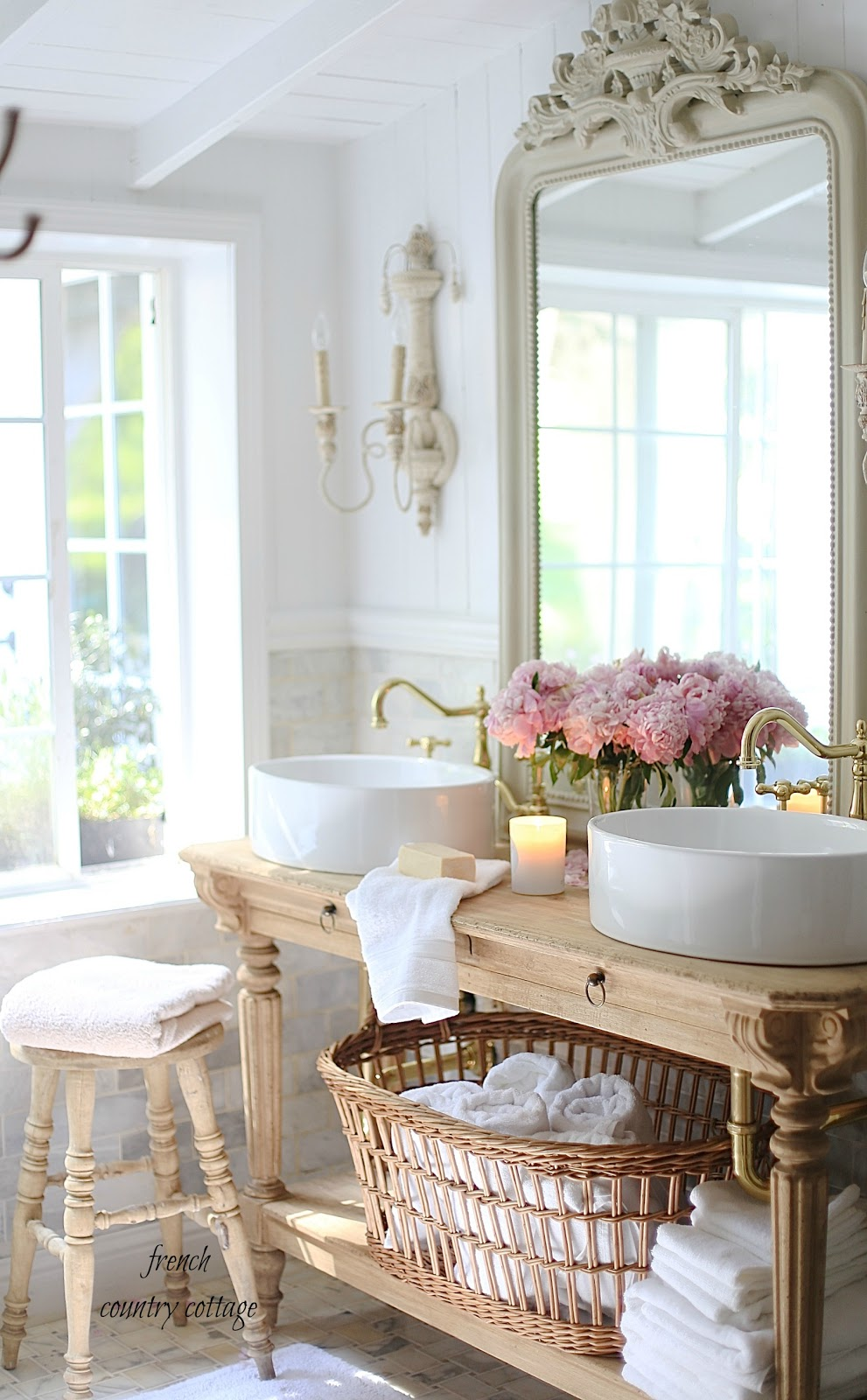 Elegant French cottage bathroom renovation peek & why I am ...