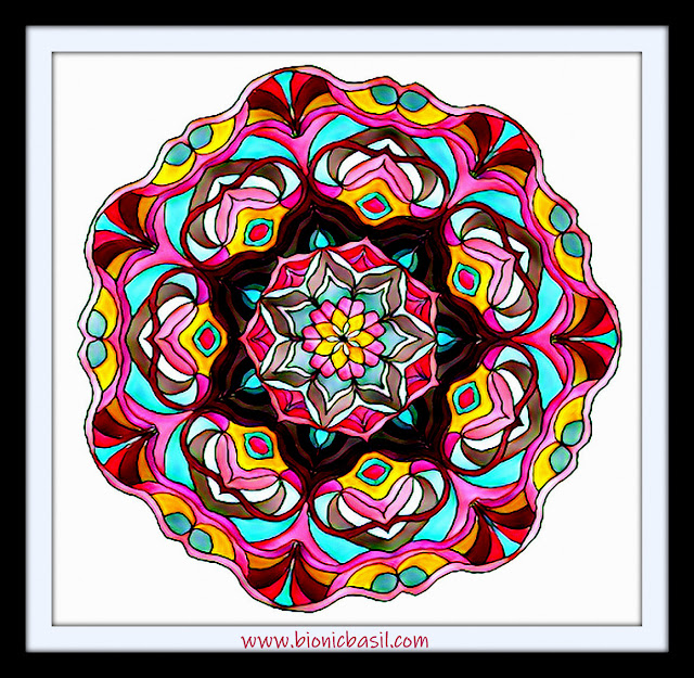 Mandalas on Monday ©BionicBasil® Colouring With Cats Mandala #125 coloured by Cathrine Garnell