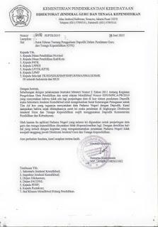 surat edaran nomor 16587/B/PTK/2015 tentang Penggunaan Dapodik Dalam Pendataan Guru dan Tenaga Kependidikan (GTK)