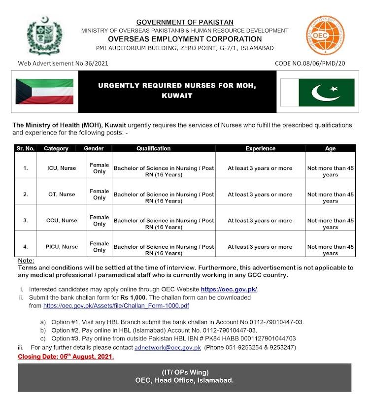 Overseas Employment Corporation OEC Ministry of Health Kuwait Jobs 2021-Free Nursing  Visa