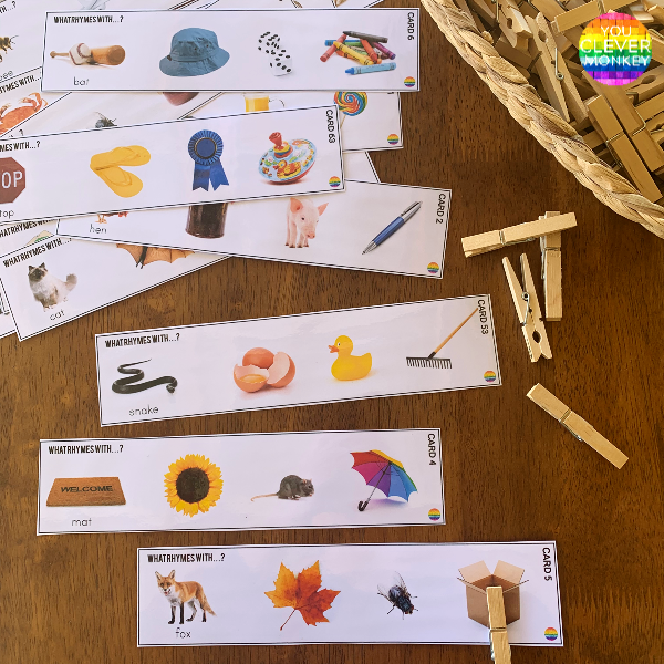 Rhyming Word Peg Cards | you clever monkey