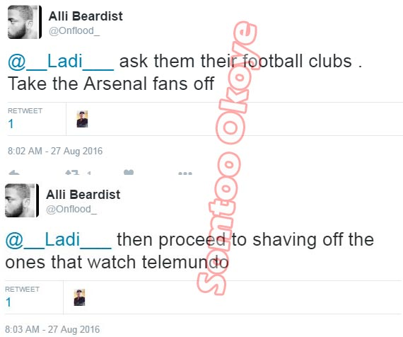 Chai! See what guy said he'll do to Telemundo viewers & Arsenal fans if he becomes company manager
