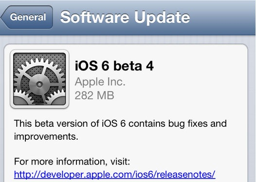 Apple iOS 6 Beta 4 OTA
