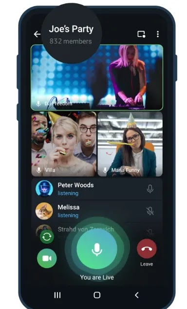 Telegram Group Video Calls Now Allows Up to 1000 Views