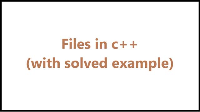 files in c++