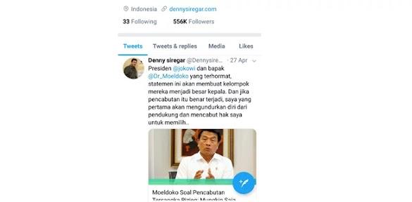 Ditunggu, Pengunduran Diri Denny Siregar Dari Barisan Pendukung Jokowi