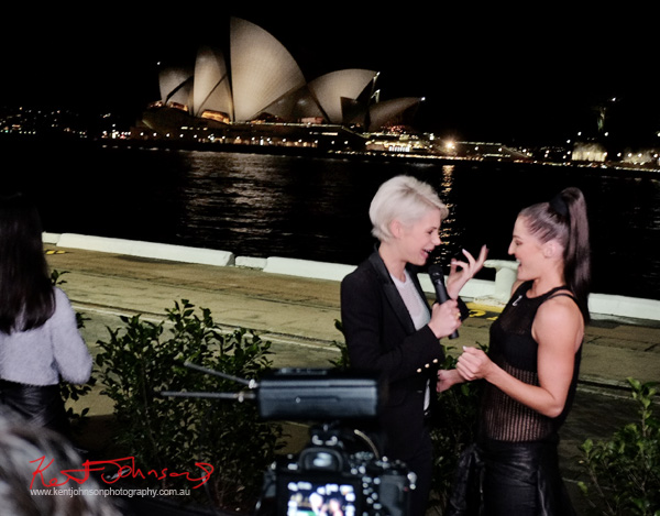 Kate Peck interview with Sydney Opera House in the background, Cruise Bar re-launch. Photography by Kent Johnson - Street Fashion Sydney.