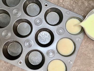 Queijadas batter pouring into cupcake pan
