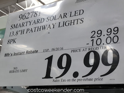 Deal for an 8 pack of SmartYard LED Solar Pathway Lights model 10193 at Costco