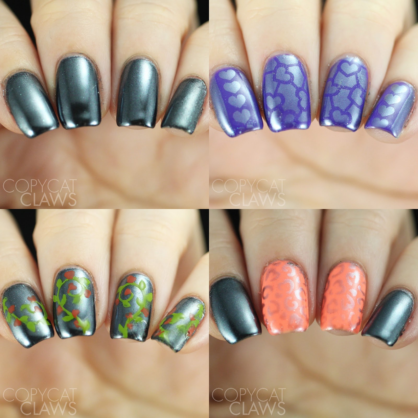 Copycat Claws: Whats Up Nails Black Chrome Powder and Stencil Review