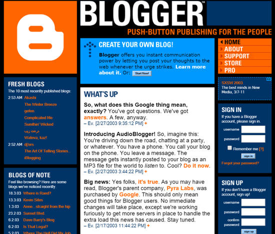 Acquisition of Blogger by Google