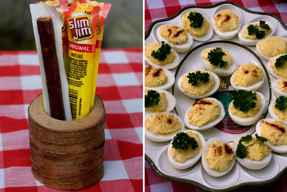 f496a468440 Beef jerky for the campers. Log toothpick Slim Jim holder also made by  Justin. Deviled eggs made by my Grammy.  I love her egg dish. And her.