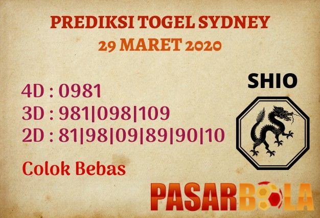 Prediksi Togel Sydney 29 Maret 2020 - PASAR BOLA